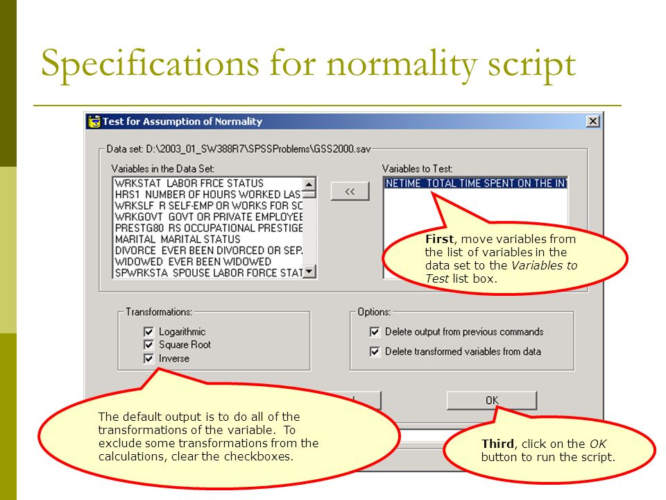 Specifications for normality script