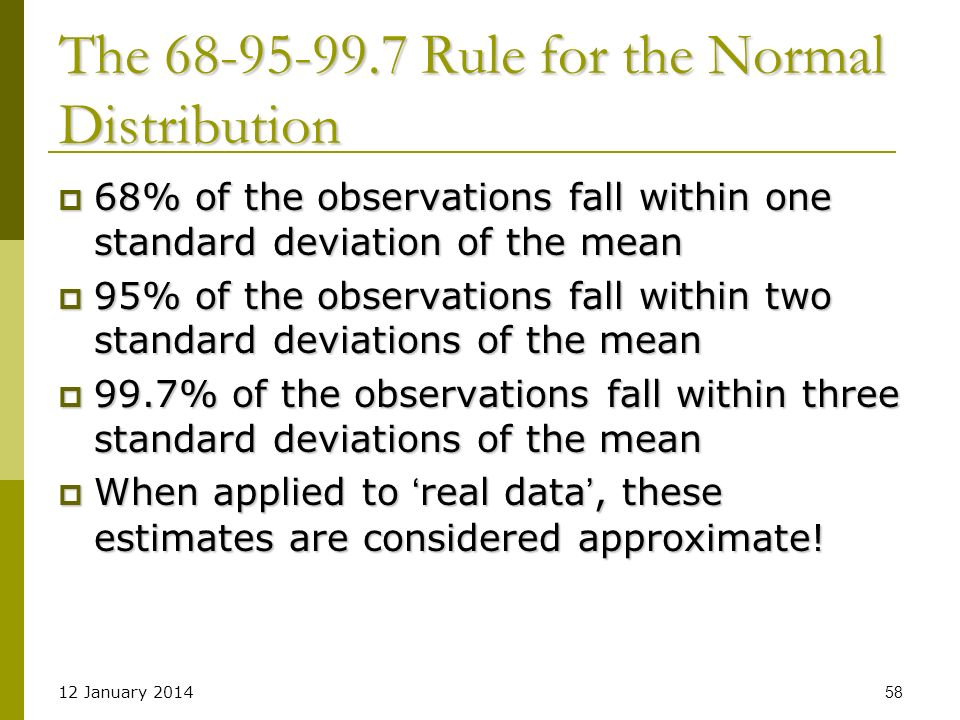 The Rule for the Normal Distribution
