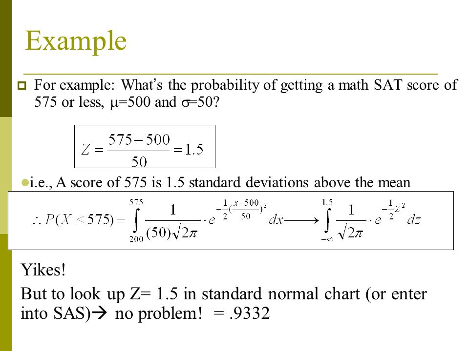 Example For example: What's the probability of getting a math SAT score of 575 or less, =500 and =50