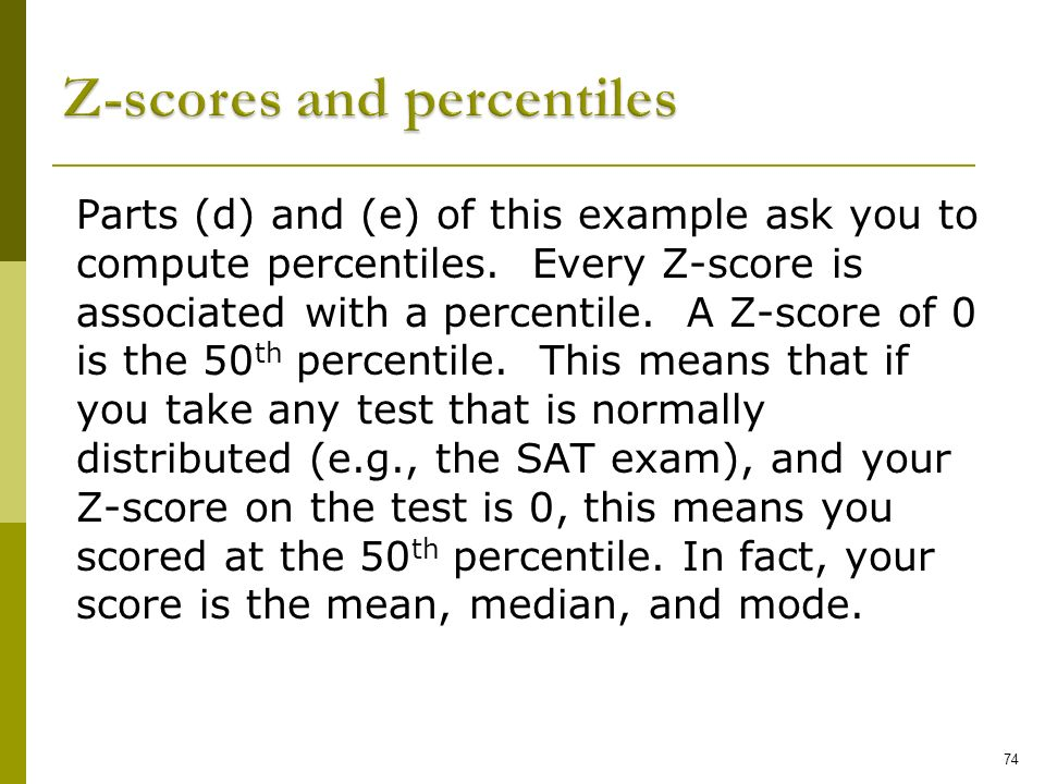 Z-scores and percentiles