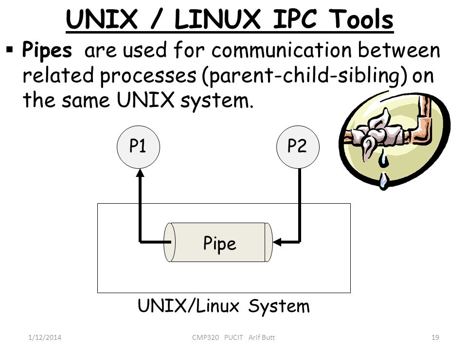 UNIX / LINUX IPC Tools Pipes are used for communication between related processes (parent-child-sibling) on the same UNIX system.
