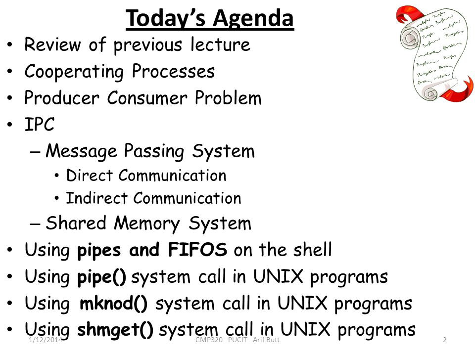 Today's Agenda Review of previous lecture Cooperating Processes