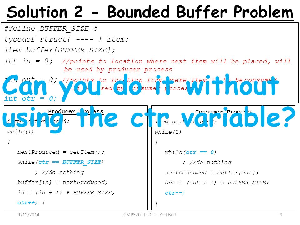 Solution 2 - Bounded Buffer Problem