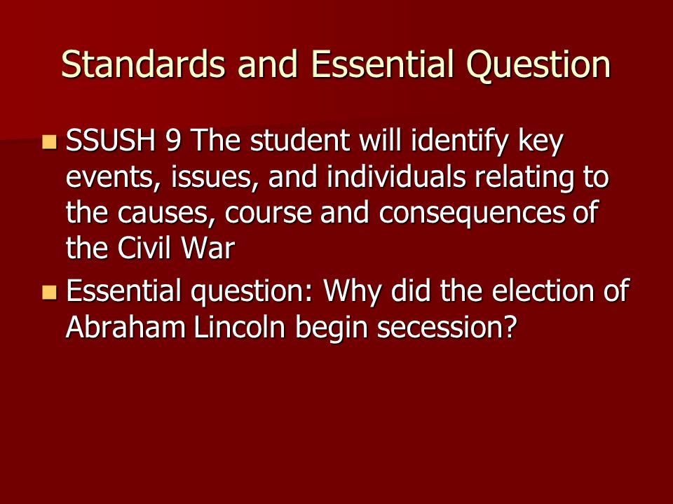 Standards and Essential Question