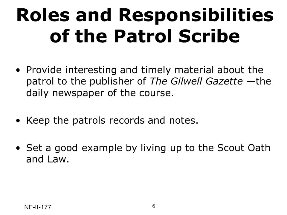 Roles and Responsibilities of the Patrol Scribe