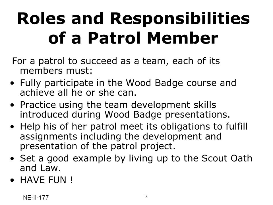 Roles and Responsibilities of a Patrol Member