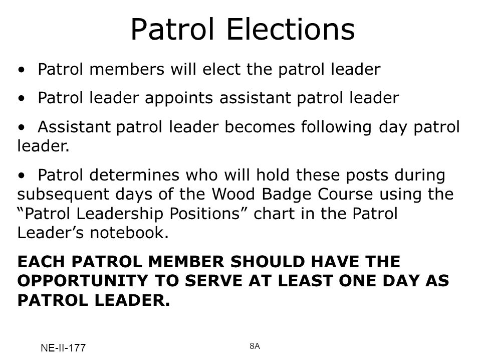 Patrol Elections Patrol members will elect the patrol leader