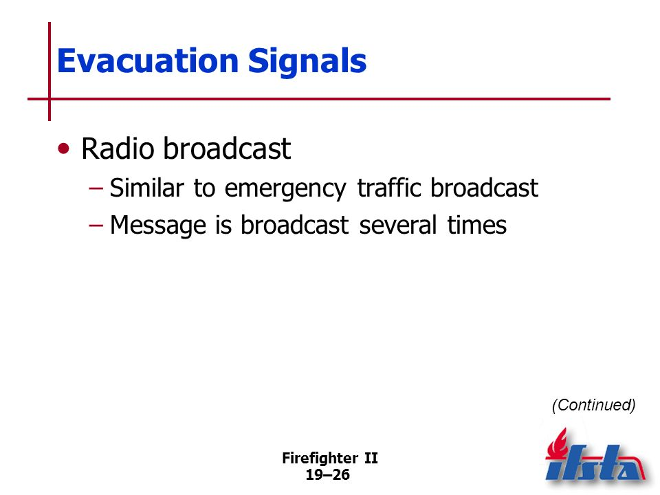 Evacuation Signals Radio broadcast