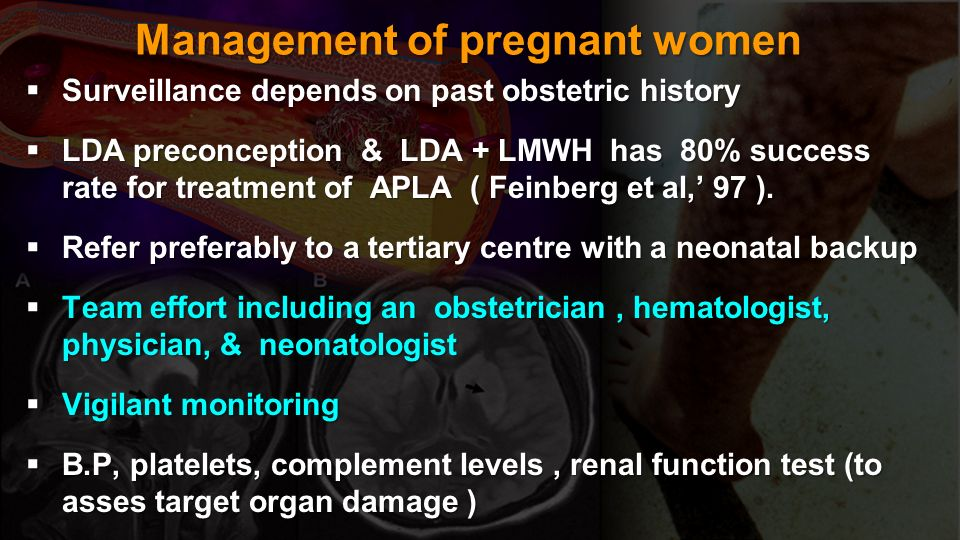 Management of pregnant women