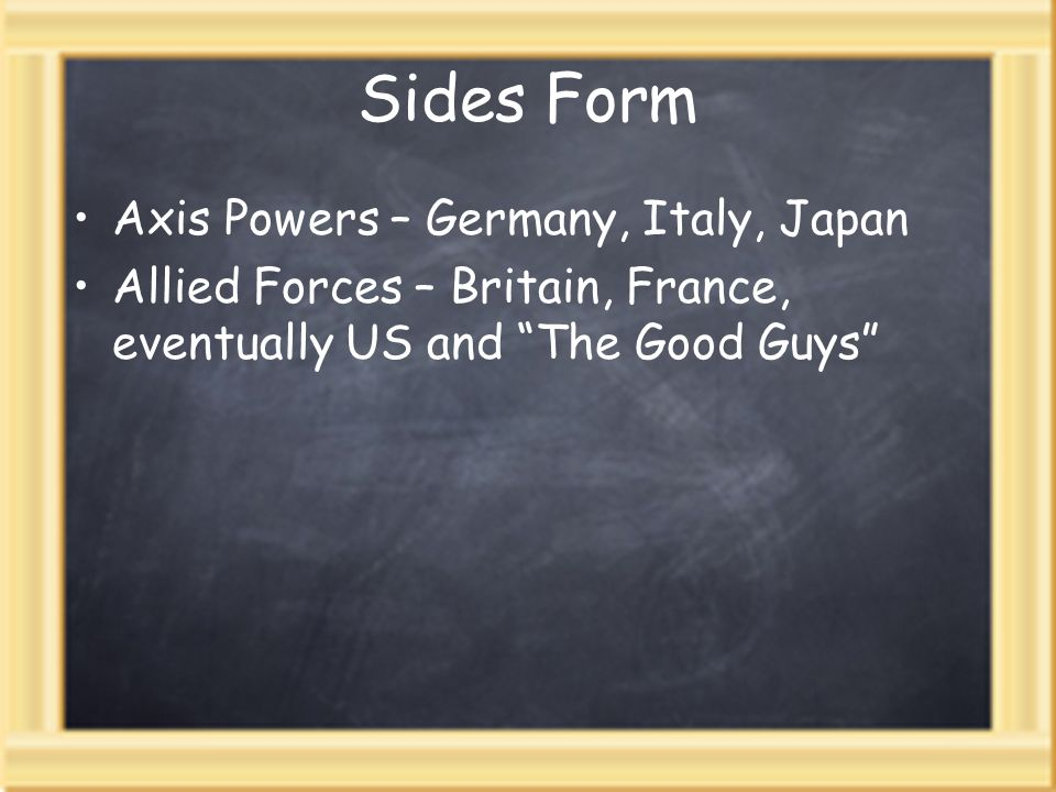 Sides Form Axis Powers – Germany, Italy, Japan