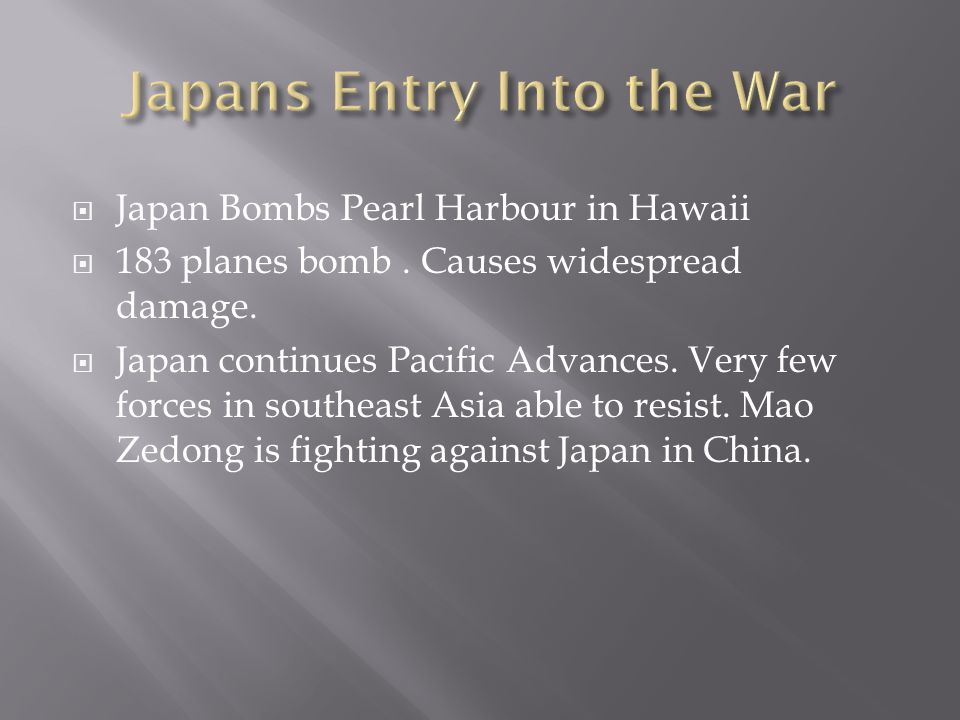 Japans Entry Into the War