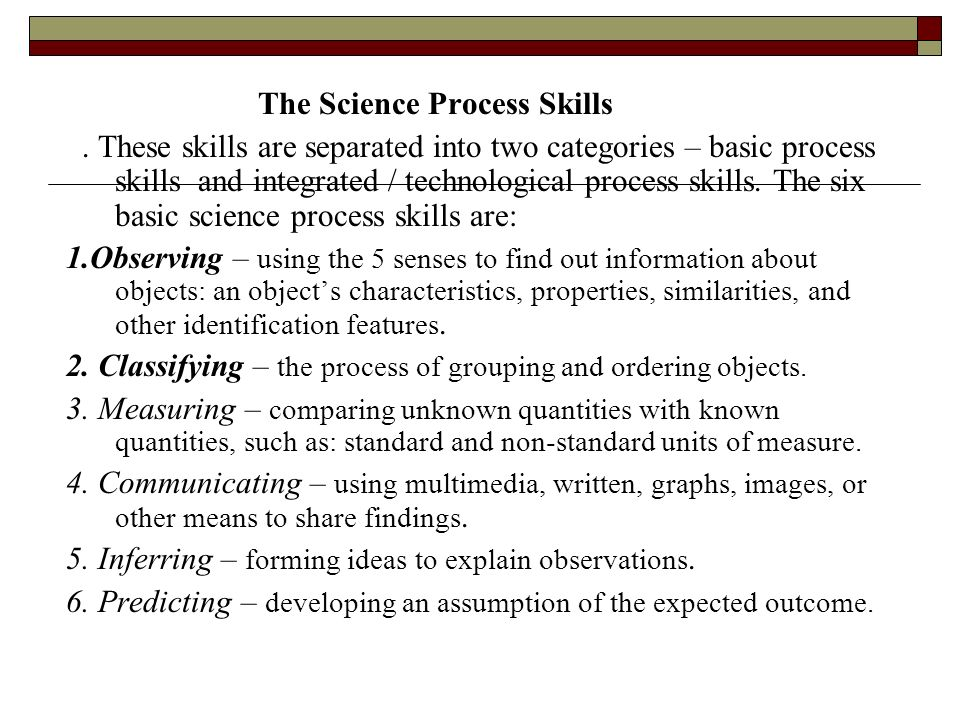 The Science Process Skills