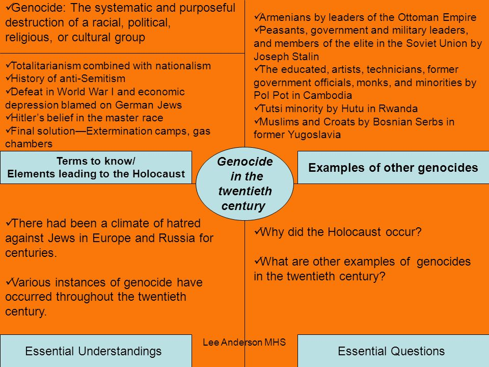 Elements leading to the Holocaust Examples of other genocides