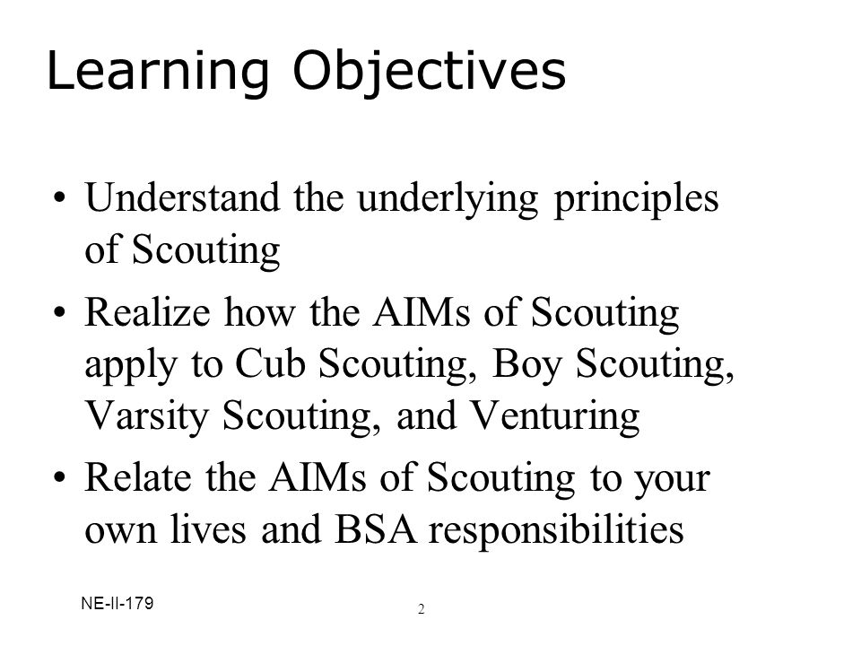 Learning Objectives Understand the underlying principles of Scouting