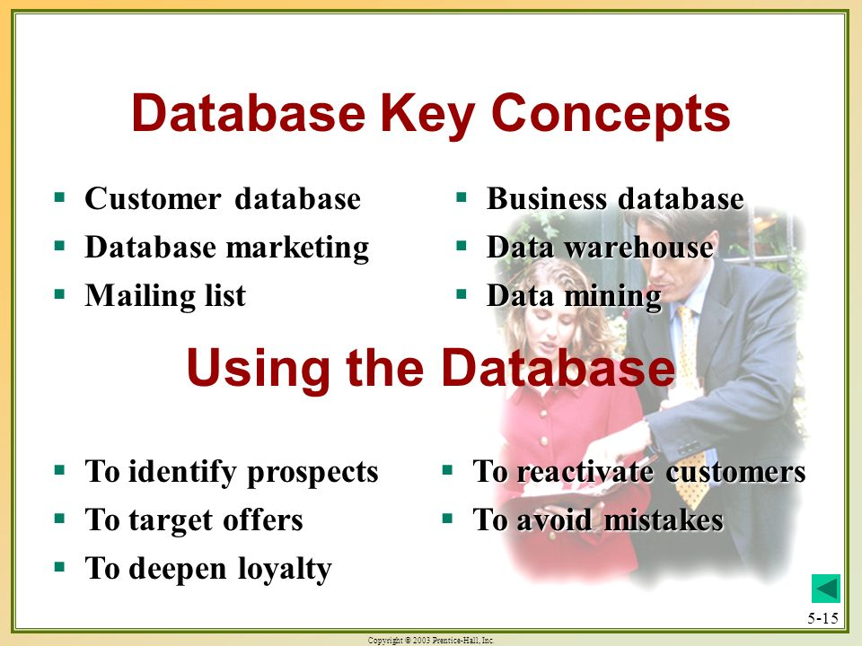 Database Key Concepts Using the Database