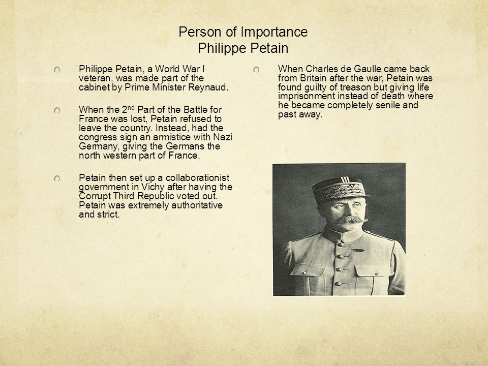 Person of Importance Philippe Petain