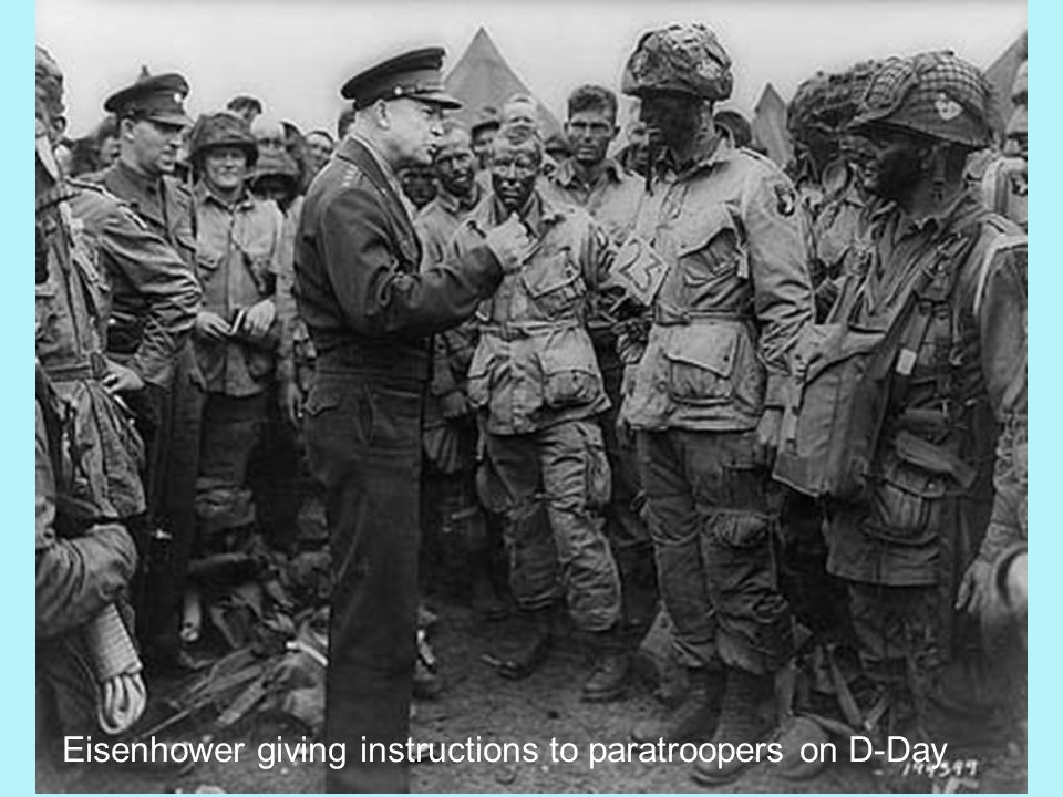 Eisenhower giving instructions to paratroopers on D-Day