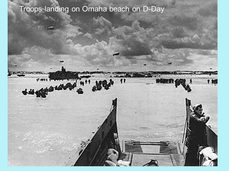 Troops landing on Omaha beach on D-Day