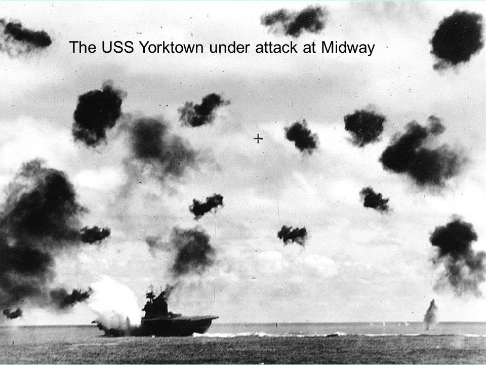 The USS Yorktown under attack at Midway