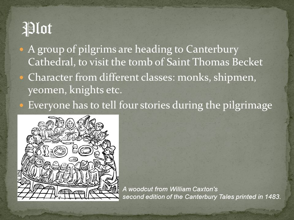 Plot A group of pilgrims are heading to Canterbury Cathedral, to visit the tomb of Saint Thomas Becket.