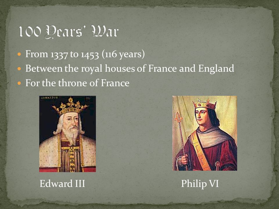 100 Years' War From 1337 to 1453 (116 years)