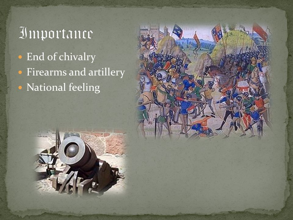 Importance End of chivalry Firearms and artillery National feeling