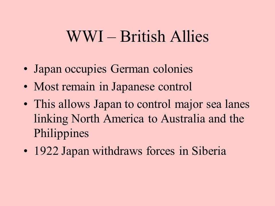 WWI – British Allies Japan occupies German colonies