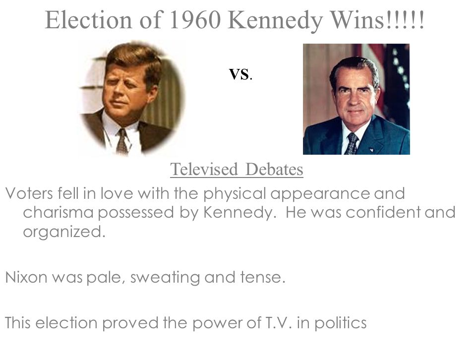 Election of 1960 Kennedy Wins!!!!!