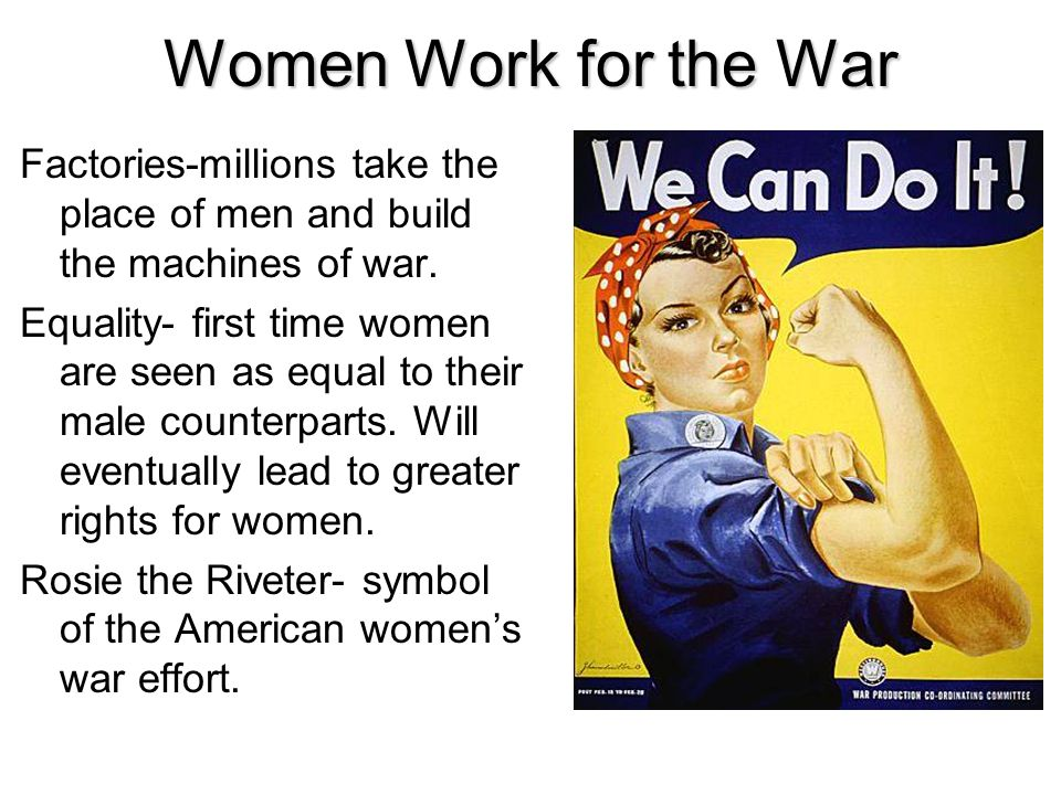 Women Work for the War Factories-millions take the place of men and build the machines of war.
