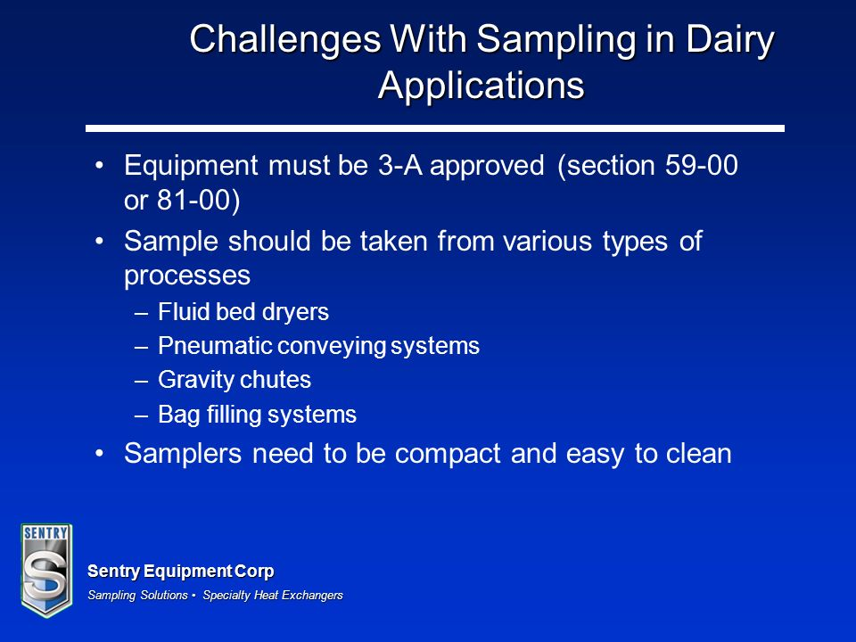 Challenges With Sampling in Dairy Applications