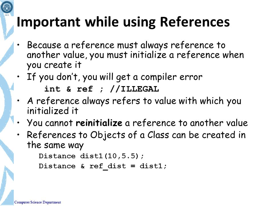 Important while using References