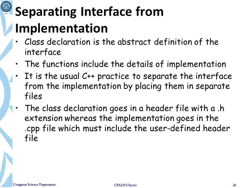 Separating Interface from Implementation