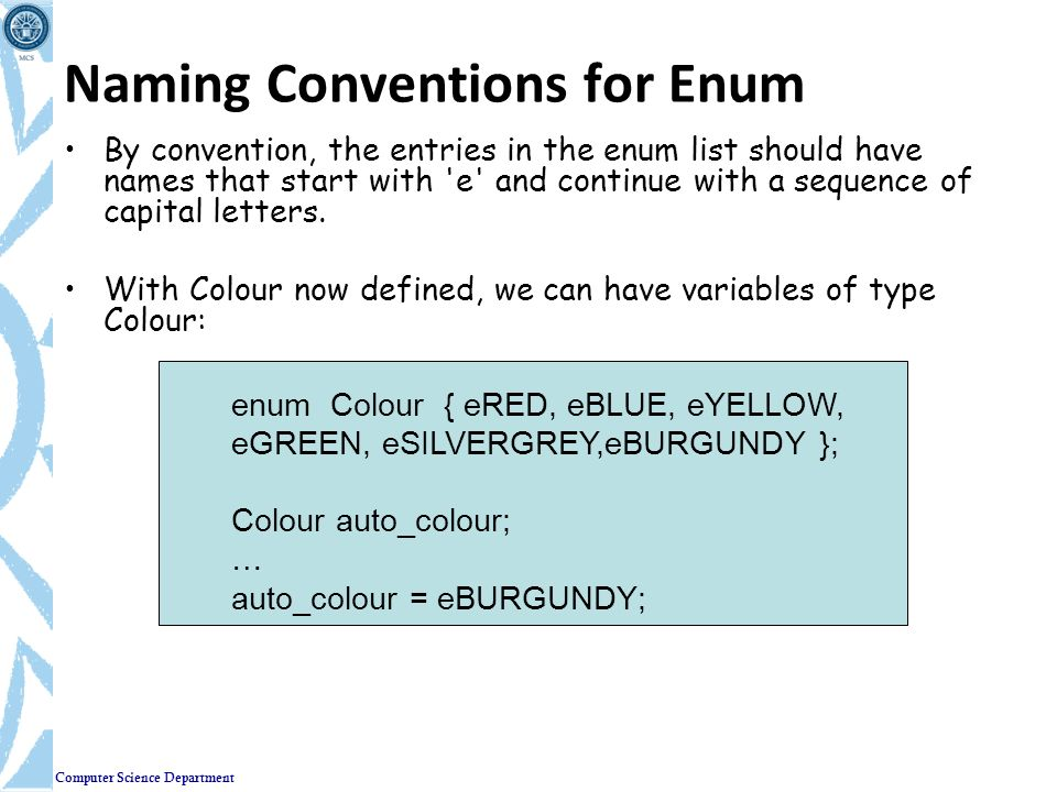 Naming Conventions for Enum
