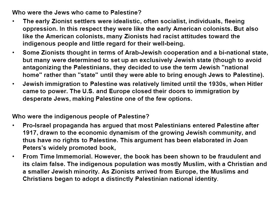 Who were the Jews who came to Palestine