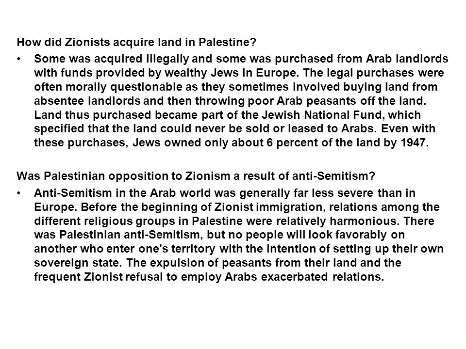 How did Zionists acquire land in Palestine