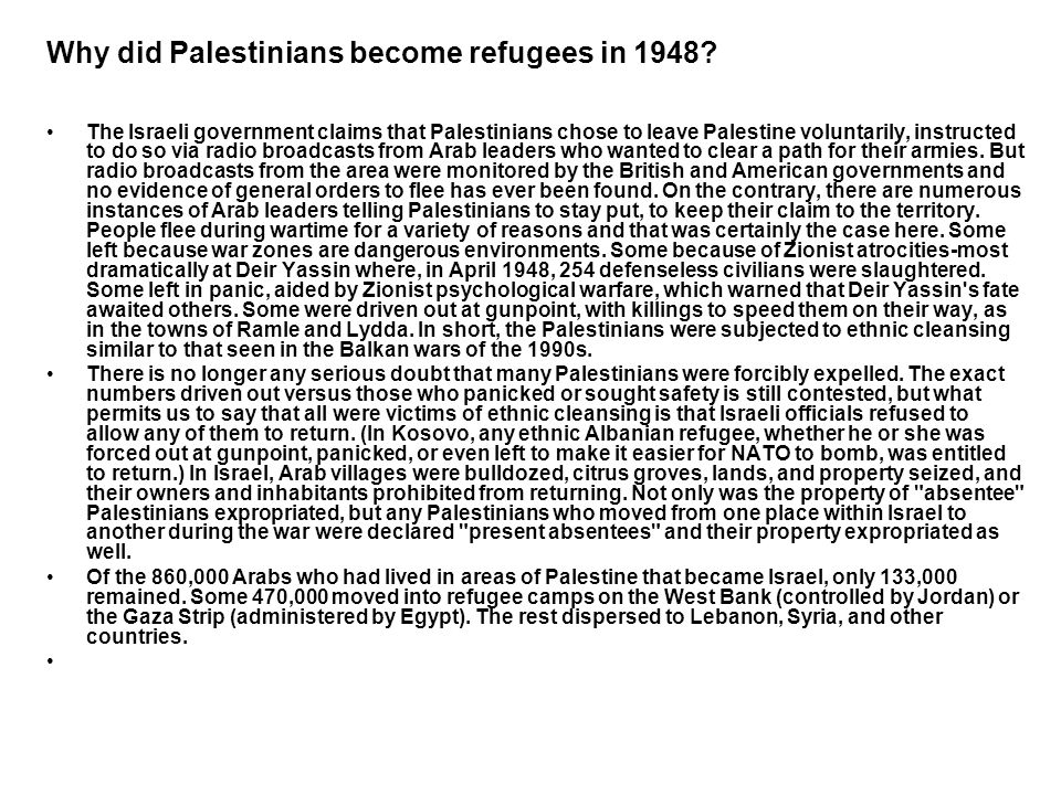 Why did Palestinians become refugees in 1948