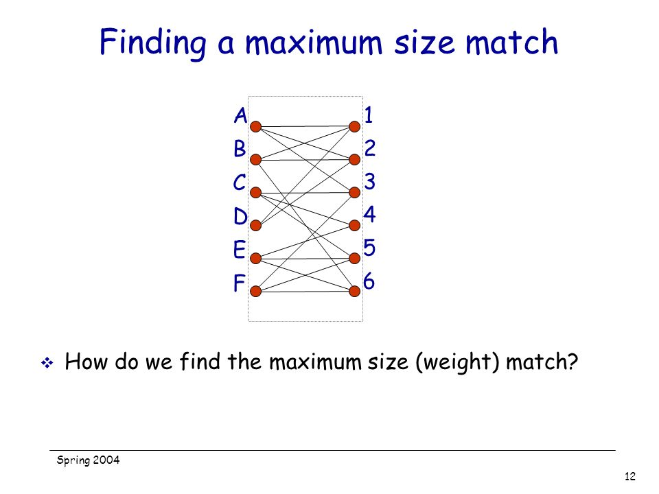Finding a maximum size match