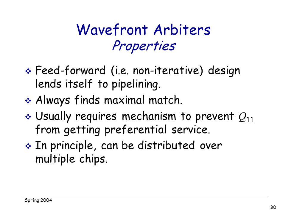 Wavefront Arbiters Properties