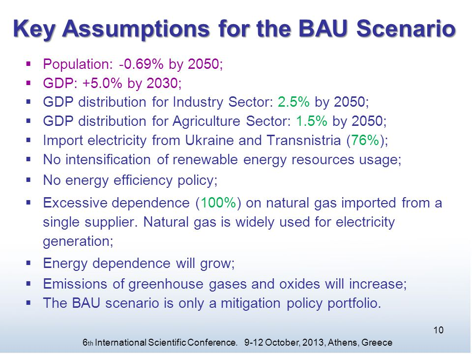 Key Assumptions for the BAU Scenario