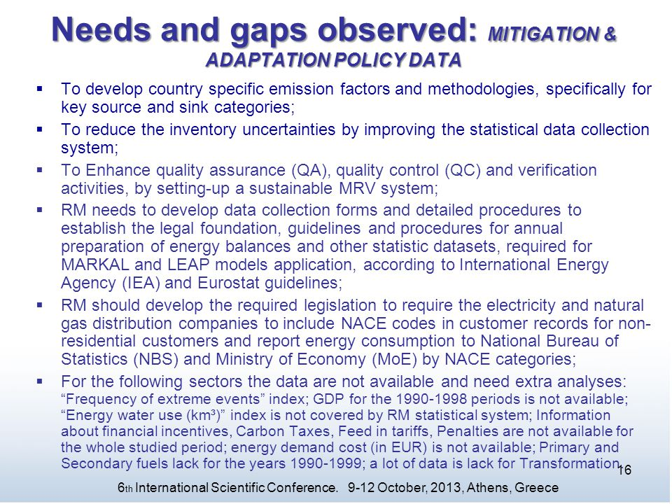 Needs and gaps observed: MITIGATION & ADAPTATION POLICY DATA
