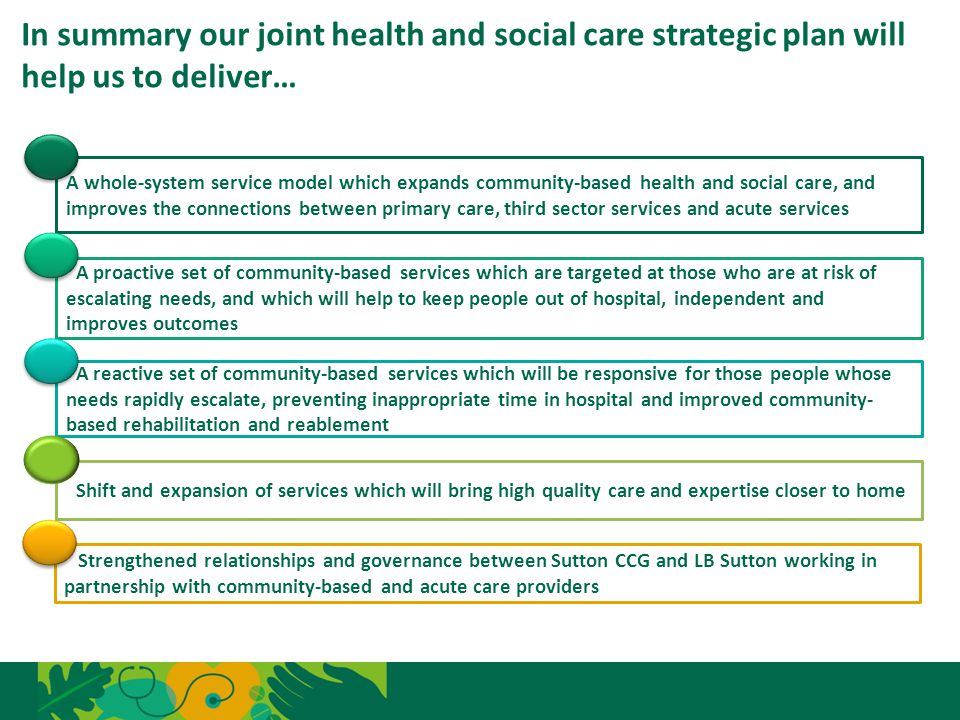 In summary our joint health and social care strategic plan will help us to deliver…