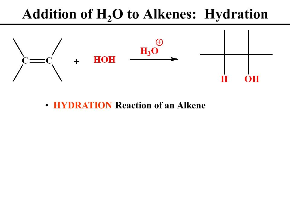 Addition of H2O to Alkenes: Hydration