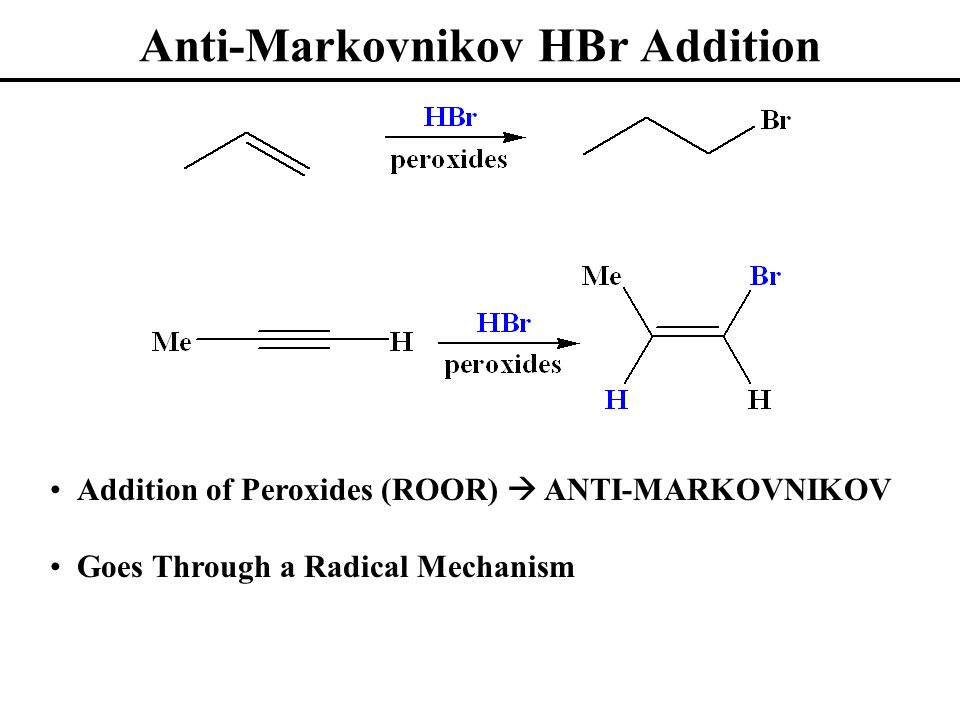 Anti-Markovnikov HBr Addition