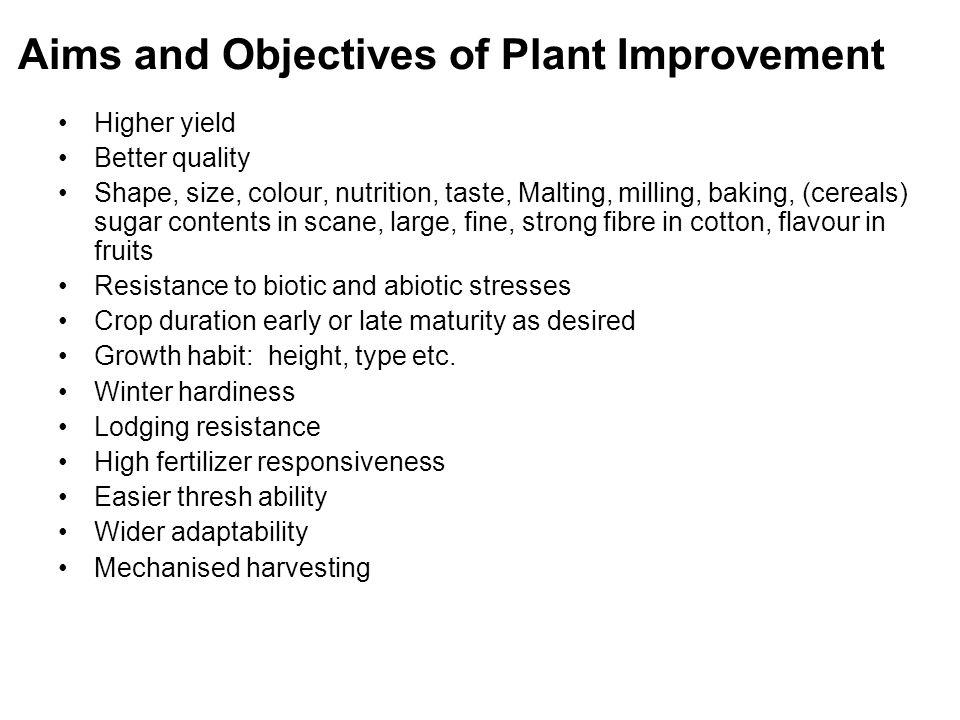 aims of plant breeding