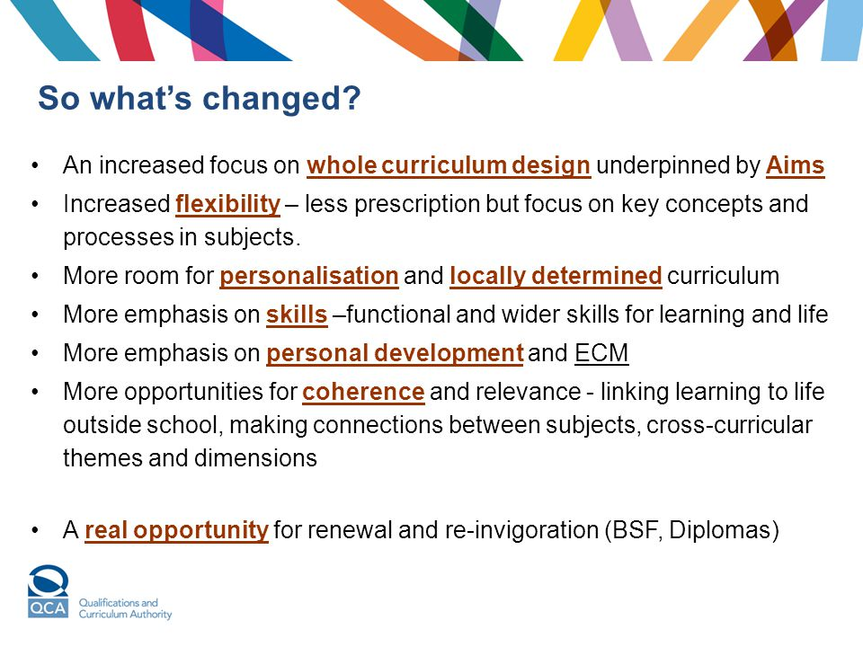 So what's changed An increased focus on whole curriculum design underpinned by Aims.