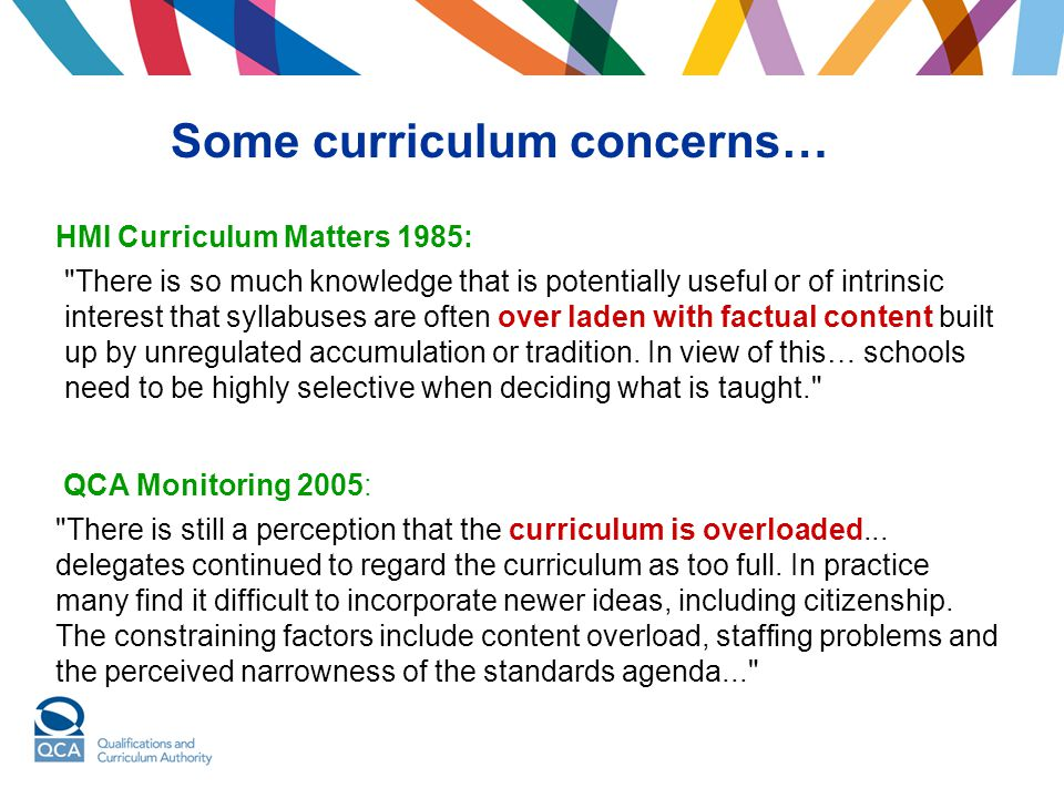 Some curriculum concerns…