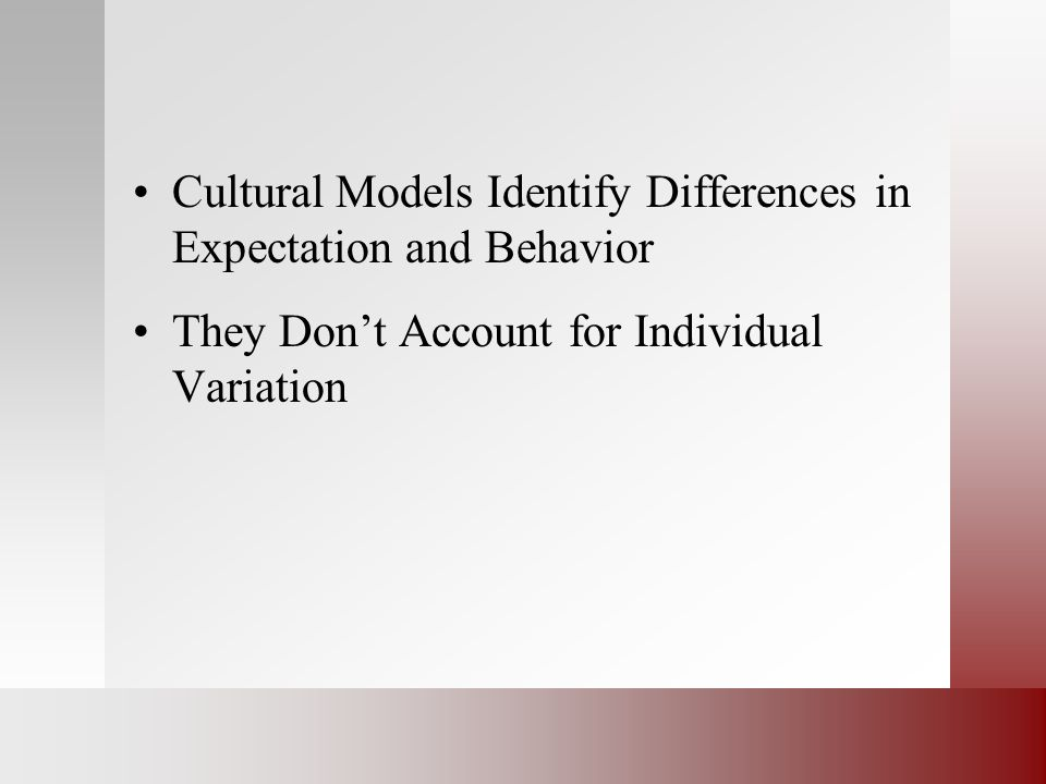Cultural Models Identify Differences in Expectation and Behavior