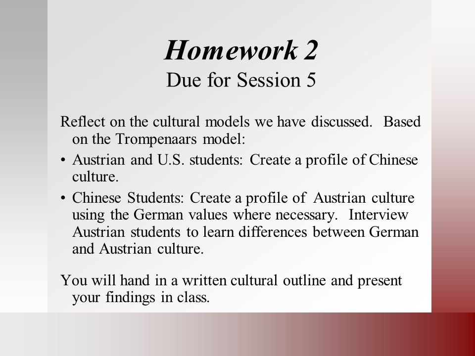 Homework 2 Due for Session 5