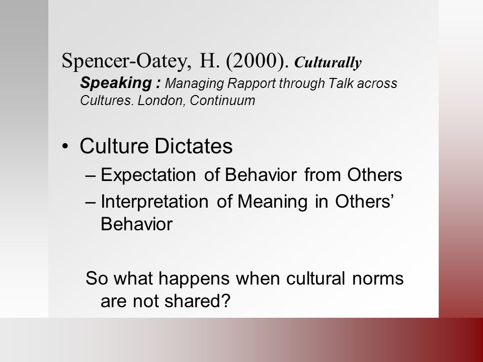 Spencer-Oatey, H. (2000). Culturally Speaking : Managing Rapport through Talk across Cultures. London, Continuum