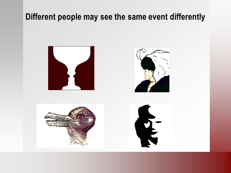 Different people may see the same event differently